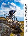 a man is riding enduro bicycle  ... | Shutterstock . vector #713301025