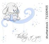 Greeting Card   Blue Rabbit...