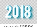 happy new year 2018 with frosty ... | Shutterstock .eps vector #713315866