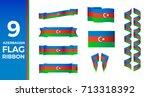 baku vector and azerbaijan flag ... | Shutterstock .eps vector #713318392