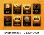 halloween backgrounds... | Shutterstock .eps vector #713340925