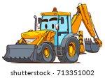cartoon backhoe loader | Shutterstock .eps vector #713351002