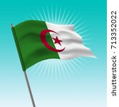 waving algeria flag. vector... | Shutterstock .eps vector #713352022
