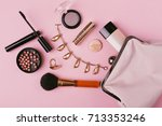 make up bag with cosmetics... | Shutterstock . vector #713353246