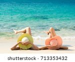 young fashion woman relax on... | Shutterstock . vector #713353432