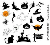 vector halloween black icons set | Shutterstock .eps vector #713365168