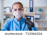 female scientist researcher... | Shutterstock . vector #713366326