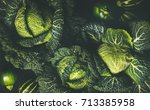 raw fresh green cabbage texture ... | Shutterstock . vector #713385958