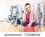 fitness woman resting on pilate ... | Shutterstock . vector #713388202