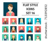 avatar set icons in flat style. ... | Shutterstock .eps vector #713392852