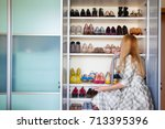 wardrobe. shelves for shoes.... | Shutterstock . vector #713395396