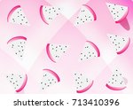 dragon fruits pattern on pink... | Shutterstock .eps vector #713410396