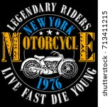 vintage motorcycle. hand drawn... | Shutterstock .eps vector #713411215