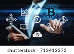 bitcoin cryptocurrency digital... | Shutterstock . vector #713413372