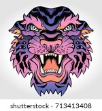 tiger's portrait made in an old ... | Shutterstock .eps vector #713413408
