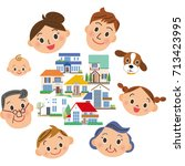 three generations family and... | Shutterstock .eps vector #713423995