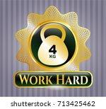 gold badge or emblem with 4kg... | Shutterstock .eps vector #713425462