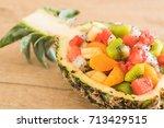 mix sliced fruits  orange ...   Shutterstock . vector #713429515
