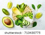 vegan  detox green buddha bowl... | Shutterstock . vector #713430775