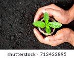 two hands of the men  were... | Shutterstock . vector #713433895
