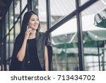 modern business woman in the... | Shutterstock . vector #713434702