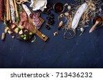appetizer  italian antipasto ... | Shutterstock . vector #713436232