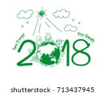 2018 new year in creative... | Shutterstock .eps vector #713437945