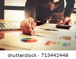 close up of business man hand... | Shutterstock . vector #713442448