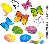 vector easter set   butterflies ... | Shutterstock .eps vector #71344282