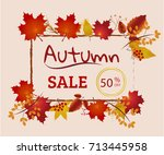 autumn sale banner collection.... | Shutterstock .eps vector #713445958