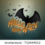 happy halloween vector... | Shutterstock .eps vector #713449012