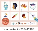 mini games collections. feed... | Shutterstock .eps vector #713449435