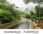 the road in rain season  in...   Shutterstock . vector #713455222