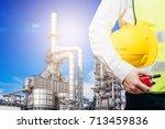 engineering man standing with... | Shutterstock . vector #713459836