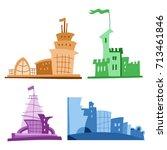 set of different fantastic... | Shutterstock .eps vector #713461846