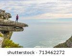 female hiker on table mountain... | Shutterstock . vector #713462272