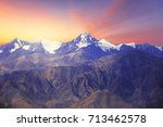 Small photo of Close up of Himalayas mountains with beautiful sunrise scenery