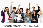 group of students smiling and... | Shutterstock . vector #713463466