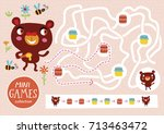 funny maze for children. feed... | Shutterstock .eps vector #713463472