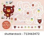 funny maze for children. feed... | Shutterstock .eps vector #713463472