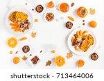table served for thanksgiving...   Shutterstock . vector #713464006