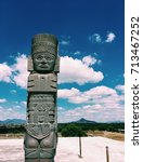 Small photo of Toltec warrior's statue against the blue sky, Tula de Allende, Mexico