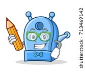 student with pencil pencil... | Shutterstock .eps vector #713469142