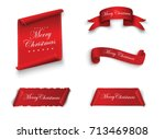 scroll red  merry christmas ... | Shutterstock .eps vector #713469808