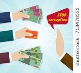 hands giving card or money for...   Shutterstock .eps vector #713470522
