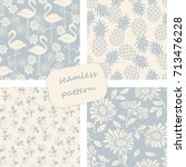 set of vintage seamless... | Shutterstock .eps vector #713476228