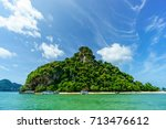 this island is about half way... | Shutterstock . vector #713476612