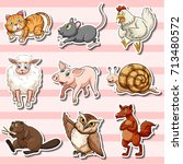 sticker set with cute animals... | Shutterstock .eps vector #713480572