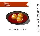 sweet gulab jamuna in black... | Shutterstock .eps vector #713490172