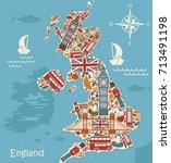 a stylized map of the uk with... | Shutterstock .eps vector #713491198